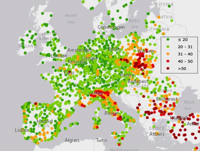 Figura 3: mappa della concentrazione media annuale del PM10, dati in μg/m3 (fonte: European Environment Agency, 2012).